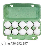 Top view of ten white chicken eggs in green paper box isolated on... Стоковое фото, фотограф Zoonar.com/Valery Voennyy / easy Fotostock / Фотобанк Лори