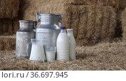 Jug, cans and glass with milk on hay stacks at farm. Стоковое видео, видеограф Яков Филимонов / Фотобанк Лори