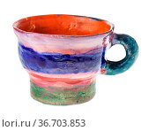Handmade and handpainted mug from red clay isolated on white background... Стоковое фото, фотограф Zoonar.com/Valery Voennyy / easy Fotostock / Фотобанк Лори