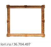 Old ornamental carved wooden picture frame with cut out canvas isolated... Стоковое фото, фотограф Zoonar.com/Valery Voennyy / easy Fotostock / Фотобанк Лори