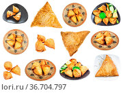 Set of various Samsa and Samosa dishes (savoury pastry) isolated on... Стоковое фото, фотограф Zoonar.com/Valery Voennyy / easy Fotostock / Фотобанк Лори