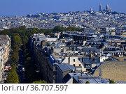 View of Paris from the top roof of the Arc de Triomphe, Paris France. Стоковое фото, фотограф Frederic Soreau / age Fotostock / Фотобанк Лори