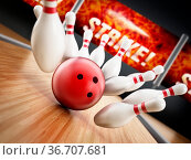 Bowling strike concept with rolling ball and pins. 3D illustration. Стоковое фото, фотограф Zoonar.com/Cigdem Simsek / easy Fotostock / Фотобанк Лори