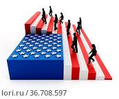 American flag with stripes arranged as ladders. 3D illustration. Стоковое фото, фотограф Zoonar.com/Cigdem Simsek / easy Fotostock / Фотобанк Лори
