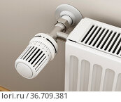 Adjustable radiator thermostat which controls the heat. 3D illustration... Стоковое фото, фотограф Zoonar.com/Cigdem Simsek / easy Fotostock / Фотобанк Лори