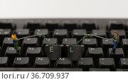 Little people hacking computer keyboard help. Стоковое фото, фотограф Zoonar.com/chris willlemsen / easy Fotostock / Фотобанк Лори