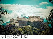 Hohensalzburg fortress, captured from the Kapuzinerberg. Spring time. Стоковое фото, фотограф Zoonar.com/Patrick Daxenbichler / easy Fotostock / Фотобанк Лори