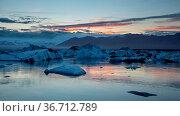 Jokulsarlon, glacier lagoon in Iceland at night with ice floating... Стоковое фото, фотограф Zoonar.com/Jakub Mrocek / easy Fotostock / Фотобанк Лори