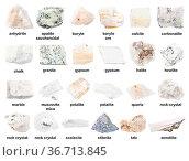 Set of various unpolished white stones with names ( granite, gypsum... Стоковое фото, фотограф Zoonar.com/Valery Voennyy / easy Fotostock / Фотобанк Лори