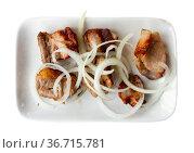 Grilled pork meat shashlik with marinated onion. Стоковое фото, фотограф Яков Филимонов / Фотобанк Лори