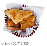 Sliced georgian bread served for lunch. Стоковое фото, фотограф Яков Филимонов / Фотобанк Лори