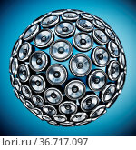 Stack of loudspeakers for arranged to form a globe. 3D illustration. Стоковое фото, фотограф Zoonar.com/Cigdem Simsek / easy Fotostock / Фотобанк Лори