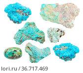 Set of various Turquoise gemstones isolated on white background. Стоковое фото, фотограф Zoonar.com/Valery Voennyy / easy Fotostock / Фотобанк Лори