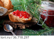 Cup of tea with berry jam on old wooden table. Стоковое фото, фотограф Zoonar.com/Photographer: Andrey N.Cherkasov / easy Fotostock / Фотобанк Лори