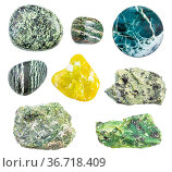 Set of various serpentine and serpentinite gemstones isolated on white... Стоковое фото, фотограф Zoonar.com/Valery Voennyy / easy Fotostock / Фотобанк Лори
