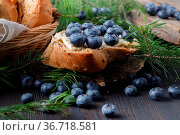 Desserts with fresh blueberries on wooden table. Стоковое фото, фотограф Zoonar.com/Photographer: Andrey N.Cherkasov / easy Fotostock / Фотобанк Лори