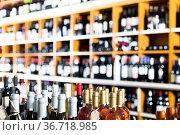 View on supermarket shelves with wine bottles. Стоковое фото, фотограф Яков Филимонов / Фотобанк Лори