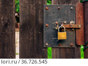 Wooden Garden Gate Rough Texture with Padlock Rusty Rustic Outdoors. Стоковое фото, фотограф Zoonar.com/Hunter Bliss / easy Fotostock / Фотобанк Лори
