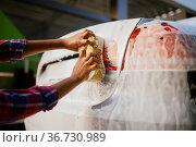 Woman using sponge and foam, hand auto wash. Стоковое фото, фотограф Tryapitsyn Sergiy / Фотобанк Лори