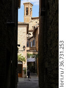 Città della Pieve Umbria Italy. The alleys in the old town. Стоковое фото, фотограф Marco Brivio / age Fotostock / Фотобанк Лори