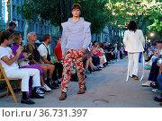 Palomo Spain runway show at Paseo Del Prado in Madrid, Spain. Редакционное фото, фотограф Oscar Gonzalez / WENN / age Fotostock / Фотобанк Лори