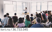 Businessman making presentation on corporate meeting event. Стоковое фото, фотограф Matej Kastelic / Фотобанк Лори
