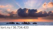 Oregon Coastal Seastacks at sunset off Face Rock State Scenic Viewpoint, Bandon, Oregon, USA. Стоковое фото, фотограф Jack Dykinga / Nature Picture Library / Фотобанк Лори
