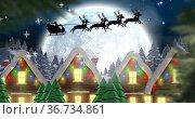 Image of christmas winter scenery with santa in sleigh. Стоковое фото, агентство Wavebreak Media / Фотобанк Лори