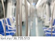 Interior of an empty subway carriage. Стоковое фото, фотограф Яков Филимонов / Фотобанк Лори