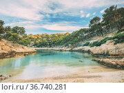 Calanques, Cote de Azur, France. Beautiful nature of Calanques on... Стоковое фото, фотограф Ryhor Bruyeu / easy Fotostock / Фотобанк Лори