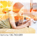 Young girl in social networks concept. Стоковое фото, фотограф Elnur / Фотобанк Лори