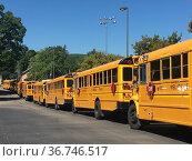 School Buses Lined Up Outside School, Wellsville, New York, USA. Редакционное фото, фотограф bfanton / age Fotostock / Фотобанк Лори