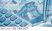 Image of financial data processing over calculator and euro currency bills. Стоковое фото, агентство Wavebreak Media / Фотобанк Лори