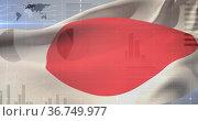Image of financial statistics recording and world map over flag of japan waving. Стоковое фото, агентство Wavebreak Media / Фотобанк Лори