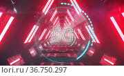 5G text on circles against glowing tunnel. Стоковое фото, агентство Wavebreak Media / Фотобанк Лори