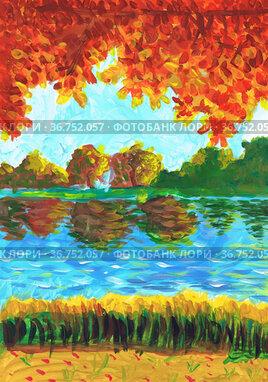 Берег реки и крона осеннего дерева. Детский рисунок