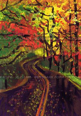 Извилистая автомобильная дорога в осеннем лесу. Детский рисунок