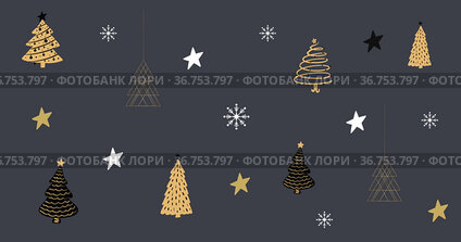 Multiple Christmas trees and stars against grey background