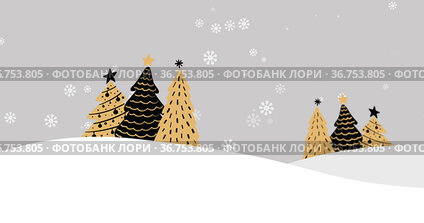 Snowflakes falling on Christmas trees on winter landscape