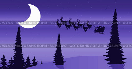 Image of black silhouette of santa claus in sleigh being pulled by reindeers against winter land