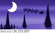 Image of black silhouette of santa claus in sleigh being pulled by reindeers against winter land. Стоковое фото, агентство Wavebreak Media / Фотобанк Лори