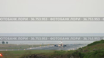 The plane touched the runway