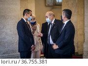 Italian Prime Minister Mario Draghi receives French Prime Minister... Редакционное фото, фотограф AGF/Alessandro Serrano' / age Fotostock / Фотобанк Лори