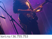 Guitarist plays electric guitar in purple scenic illumination. Стоковое фото, фотограф EugeneSergeev / Фотобанк Лори