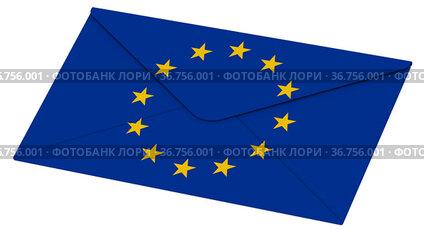 Closed envelope with European Union flag
