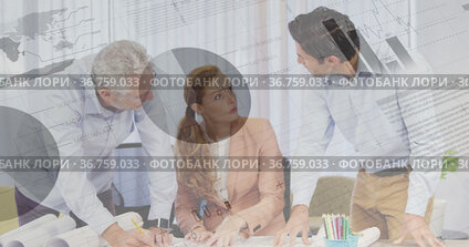 People discussing in an office and graphs with statistics and data