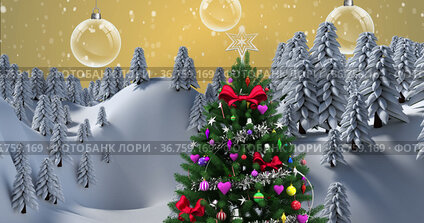Image of christmas tree with decorations over snow falling and winter landscape