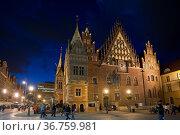 Rathaus, Breslau, Wroclaw, Niederschlesien, Polen. Стоковое фото, фотограф Zoonar.com/Günter Lenz / age Fotostock / Фотобанк Лори