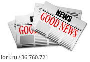 Red text Good News on newspaper, 3d rendering. Стоковое фото, фотограф Zoonar.com/Yann Tang / easy Fotostock / Фотобанк Лори