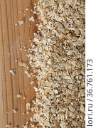 Cereals and healthy eating concept - oatmeal flakes. Стоковое фото, фотограф Яков Филимонов / Фотобанк Лори